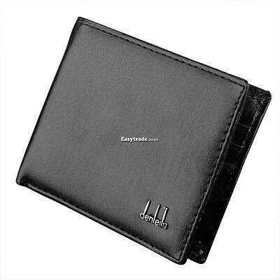 Men's Synthetic Leather Wallet Money Pockets Cards Photo Holder Purse 2 Colors