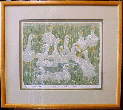 Geese Bathing Limited Edition Woodcut Print, by Kathy Farmer No 1/7