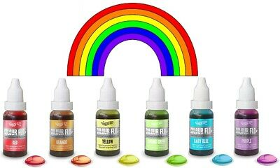 Rainbow Dust Colour Flo Concentrated Liquid Food Air Brush Colouring - 6 Colours