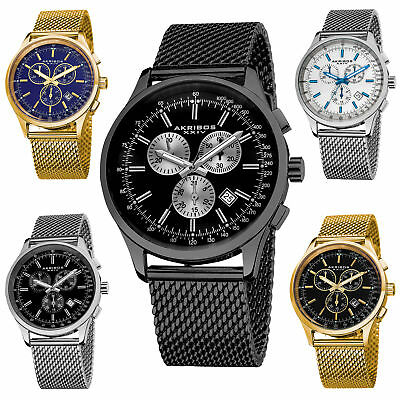 Men's Akribos XXIV AK625 Swiss Chronograph Date Stainless Steel Mesh Watch