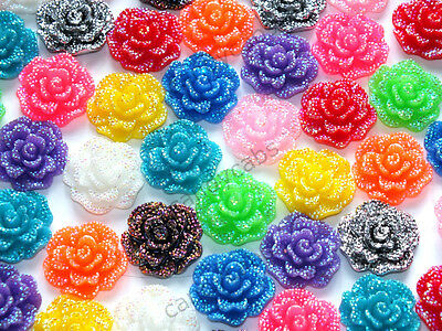 CandyCabsUK Mixed Resin Sparkle Flowers 28mm Cabochon Craft DIY kit New Size
