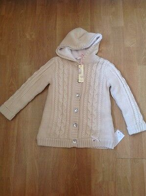 Gorgeous Strawberry Faire Cream Fleece Lined Cardy/jacket Age 4-5 Yrs Bnwt