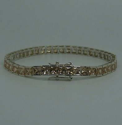 Womens 925 Sterling Silver Amber Cubic Zirconia Tennis Bracelet 7 3/4 Inches-New