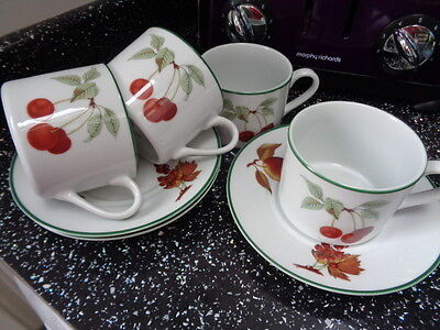 Royal Worcester Evesham Vale Cups And Saucers