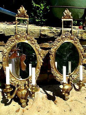 Pair Antique Solid Bronze 2 Light Sconces