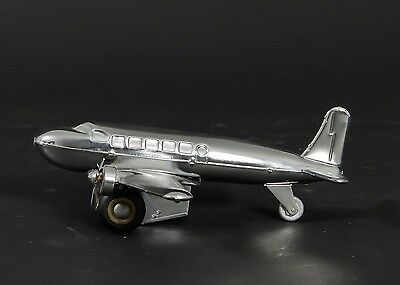 """Metal Wind Up DC-3 Airplane Toy w. Two Propellers 8"""" Long x 9.5"""" Wide"""