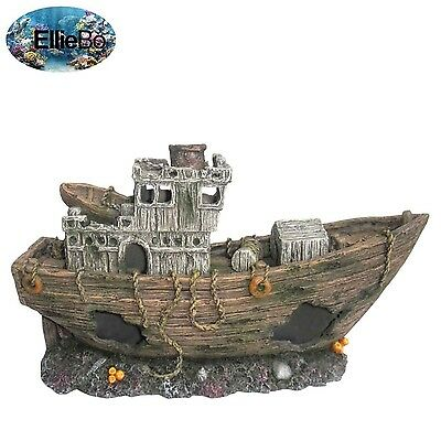 Ellie-Bo Shipwrecked Aged Fishing Boat Handpainted Polyresin Aquarium Ornament
