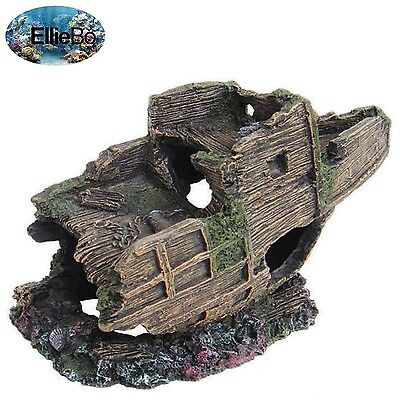 Ellie-Bo Aged Bow of Shipwrecked Galleon Handpainted Polyresin Aquarium