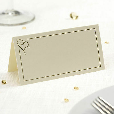 50 TABLE PLACE CARDS Name Setting IVORY GOLD HEART Wedding Engagement Parties