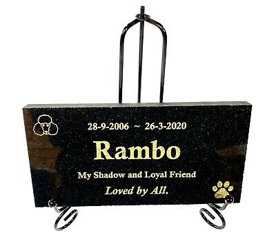 Dog Memorial Marker Laser engraved black granite on wrought iron stand 200x100mm
