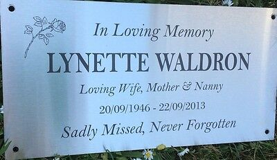 Memorial Grave Marker Laser Engraved Stainless Steel, mounting holes 300x150mm