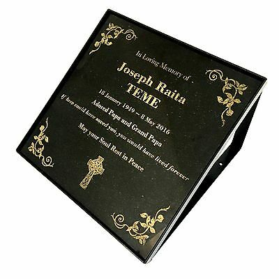 Grave Marker Memorial Laser Engraved Galaxy Black Granite with stand 300x300mm