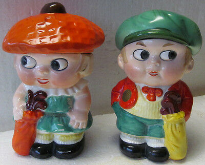Rare Vintage Ceramic Young Boy And Girl Golfers-Made In Germany-Removable Hats