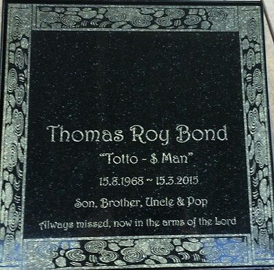 Grave Marker Plaque Custom Laser engraved border Black Granite 300x300mm