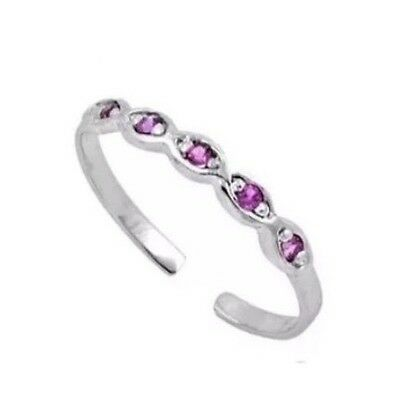 100% GENUINE 925 Sterling Silver Ruby Pink Cubic Zircon Adjustable Toe Ring