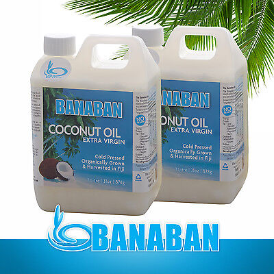 BANABAN Extra Virgin Coconut Oil 2 x 1 litre Easy Pour FREE SHIPPING
