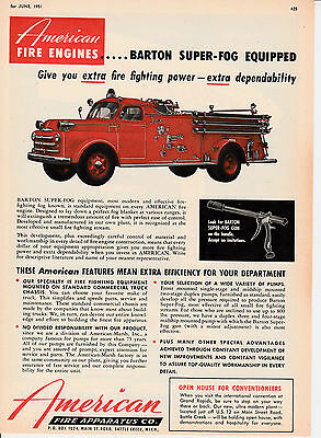 American Fire Apparatus Barton Super Fog Equipped     1951  Ad       6201