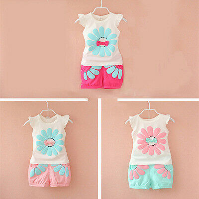 Bow Floral Kids Baby Girls Outfits Clothes Vest Tops+Shorts Pants 2PCS Set