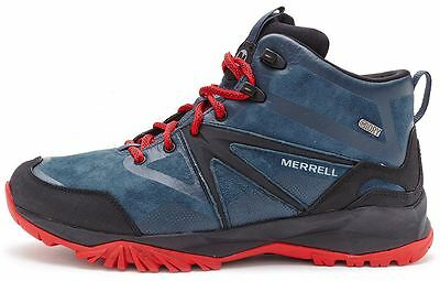 Merrell Capra Bolt Leather Mid Waterproof Boots in Navy Blue, Black & Red J35807