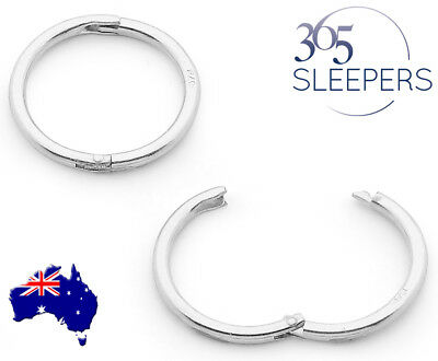 365 Sleepers 1 Pair Solid Sterling Silver Hinged Hoop Sleeper Earrings 8mm-22mm