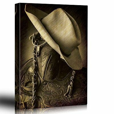 Wall26 - Cowboy hat on the saddle horn - Hung up spurs - Canvas Art - 16x24