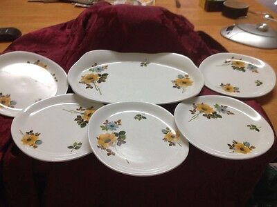 Set Of 6  1930's Alfred Meakin Plates 1 Serving Plate 5 Side Plates