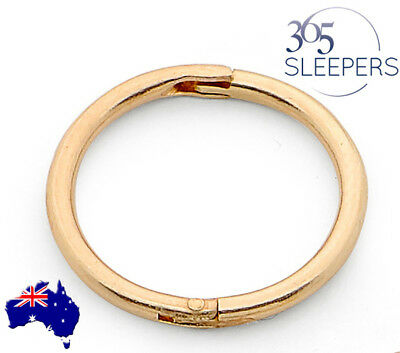 365 Sleepers 1 Piece Gold Plated Sterling Silver Hinged Hoop Earring Nose Ring