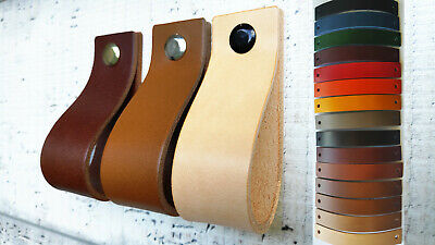 LEATHER PULL FOR DRAWERS, CABINETS, DOORS - 2mm VEG TANNED LEATHER 9 COLORS