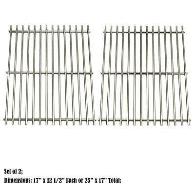 Replacement Stainless Steel Cooking Grid Grate for Universal Gas Grill, 2 pack