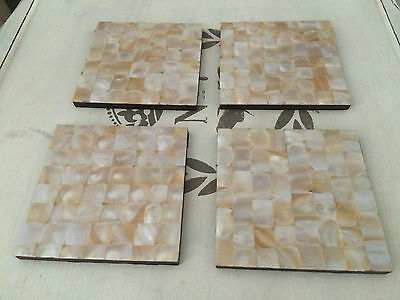 Set of 4 mother of pearl square drink mats or COASTERS