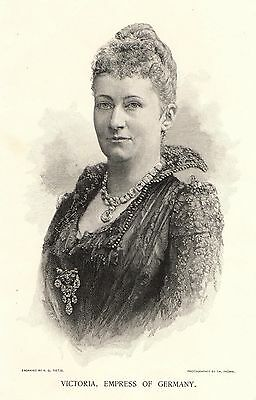 Antique Print, Germany, Victoria, Empress Of Germany, Portrait, 1891