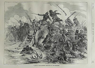 Crimean War:russians Attack English Trenches 1854 Antique Engraved Print
