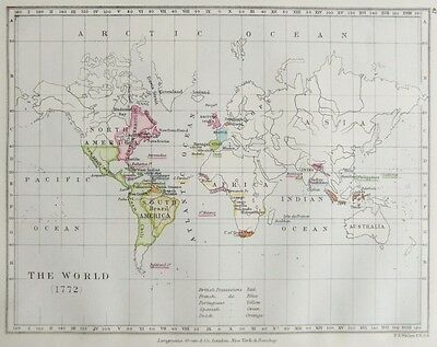 The World 1772 Showing Various Possessions,antique Colour Map.