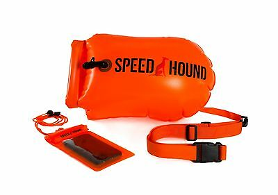 Open Water Swimming Safety Buoy With Dry Bag and Cell Phone Case -Hivis Orange