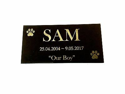 Dog Memorial Personalised and Laser Engraved on Black Granite no holes 200x100mm