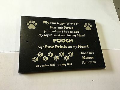 PET MEMORIAL CUSTOMISED LASER ENGRAVED BLACK GRANITE with mounting hole 300x200