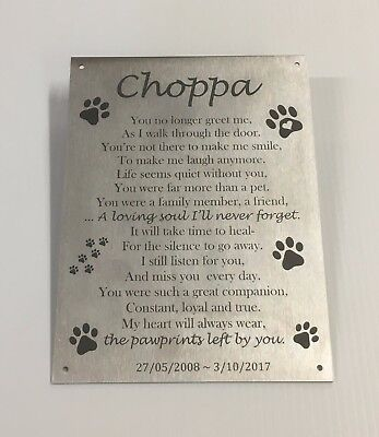 PET MEMORIAL CUSTOM LASER ENGRAVED STAINLESS STEEL with mounting holes 200x150