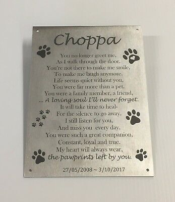 Pet Memorial Custom Laser Engraved Stainless Steel with mounting holes 200x150mm
