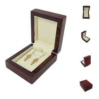 Luxury Real Wood Mahogany Premium earrings Jewellery Gift Box-wedding/engagement