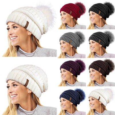 Ladies Womens Winter Textured Knit Beanie Bobble Hat Detachable Faux Fur Pom Pom
