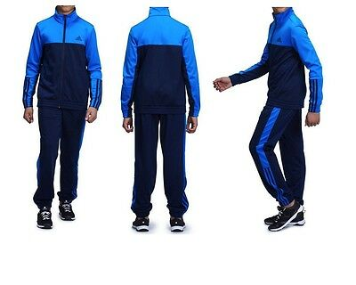 Adidas Boys Play Gym Outdoore Tracksuit Polyester  Blue New