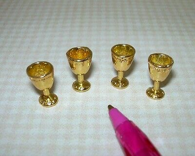 Miniature Gold Metal Goblets, Set of 4 Sturdy Attractive DOLLHOUSE 1/12 Scale