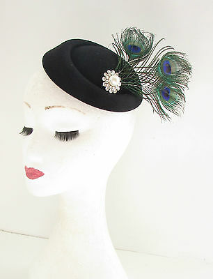 Black Green Peacock Feather Pillbox Fascinator Hat Headpiece Vtg Hair Races 454