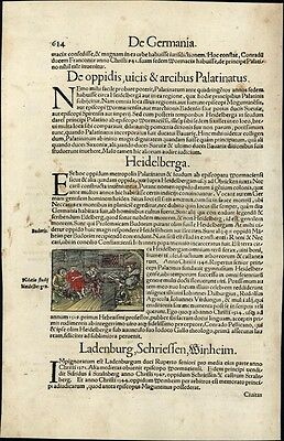 Teacher reading book to students c.1552 Munster rare w/ orig. early hand color