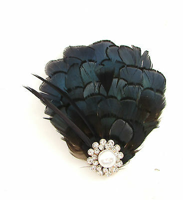 Navy Blue Black Silver Lady Amherst Pheasant Feather Fascinator Hair Clip 455