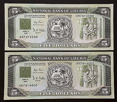 LIBERIA - Set of 2 Banknotes Notes - 5 DOLLARS 1991 - P 20 P20 (AU+)