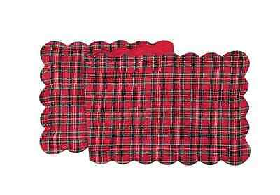 "Tartan RED PLAID Christmas Quilted Reversible 51"" C&F Table Runner"