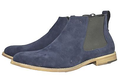 New Men's Pu Suede Desert Ankle Chelsea Navy Blue Boots SIZE 6-12