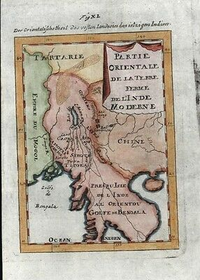 Southeast Asia China Mogol Empire 1719 antique engraved hand color map