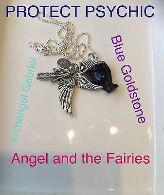 00159 PROTECTION FOR PSYCHIC Blue goldstone Archangel Gabriel Infused Necklace™